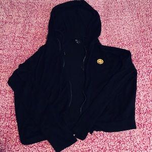 Black smiley zip up